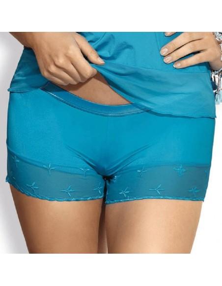 Pijama corto con encaje turquesa Twist