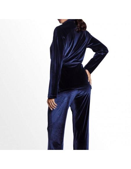 Bata kimono de terciopelo azul Dolores
