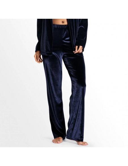 Pantalón de pijama de terciopelo azul Dolores