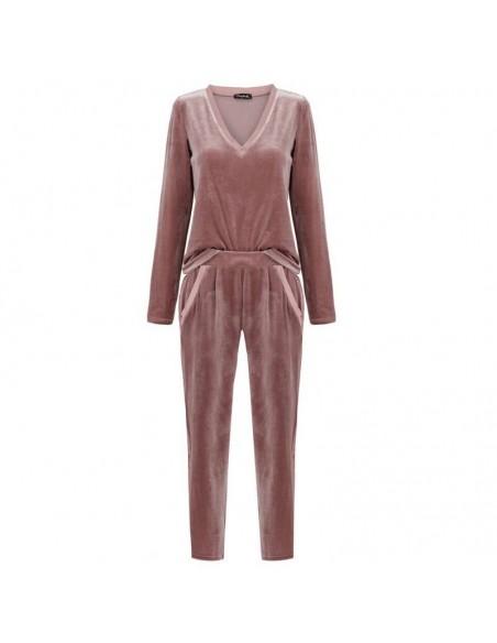 Pijama de terciopelo de color rosa palo Mistress