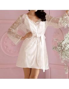 Bata de encaje blanco lencería de noche sexy Lust