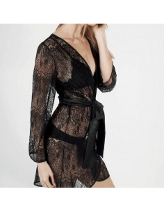 Bata de encaje negro lencería de noche sexy Lust