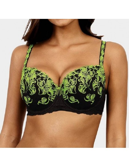 Sujetador push up negro y verde fluorescente Sanita
