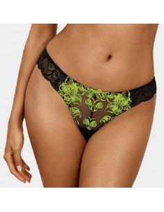 Tanga negro sexy con encaje verde fluorescente Sanita