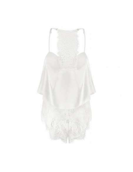 Pijama de mujer de satén blanco con encaje Juliet