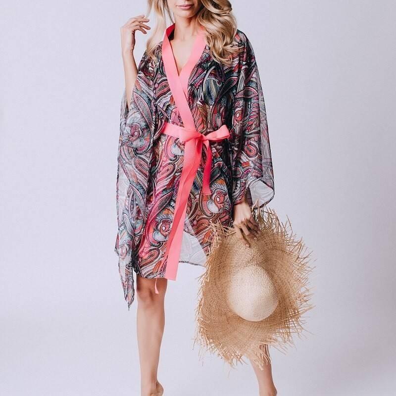 Kimono para playa con estampado en tonos rosa Seven Mile Beach
