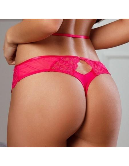 Tanga de encaje sexy y cómodo rosa frambuesa O La La