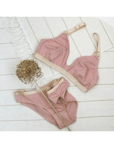 Bralette de algodón orgánico sostenible en tono rosa Miss Liberté Skin