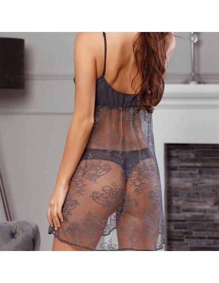 Picardías sexy gris lencería noche fina de mujer Euphoria