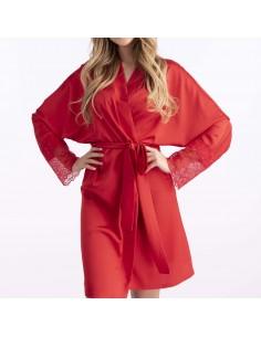 Bata de satén kimono de color rojo Happiness