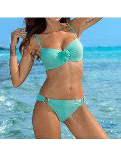 Bikini para mujer escote push-up verde agua Darla
