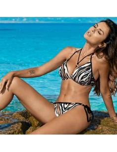 Bikini de mujer estampado animal cebra efecto pushup Sara