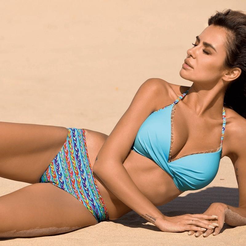 Bikini de mujer pushup azul turquesa estampado étnico Anabel