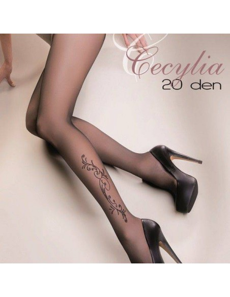 medias finas elegantes con dibujo en rodilla