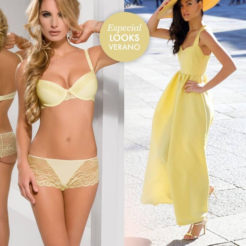 lenceria elegante sexy de color amarillo