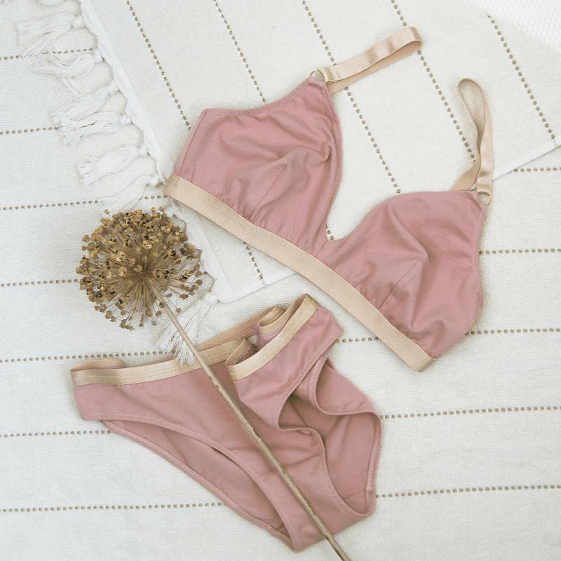 ropa interior sostenible de algodon organico rosa palo Miss Liberte